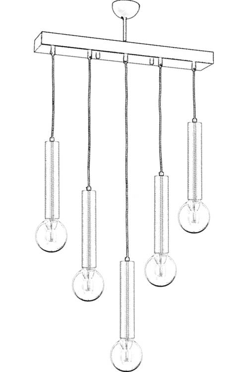 Lustra Avonni AV-65209-5EY, 5x 60 W ,E27, Antique